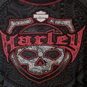 Harley Davidson shiny skull long sleeve shirt